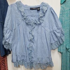 Denim 24/7 24W 2x Romantic Chambray Ruffle blouse
